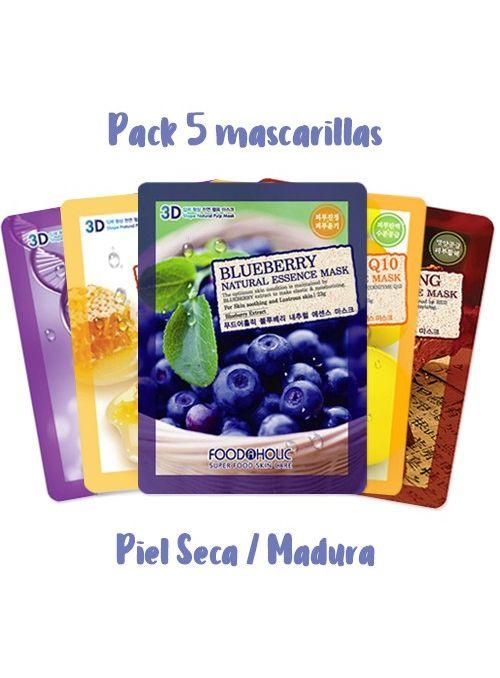 Selección 5 Mascarillas Natural Essence - Piel Seca o Madura